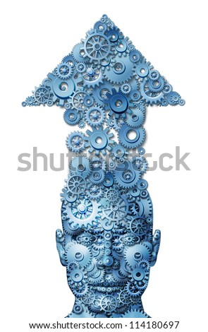 Power of ideas and education growth with a front facing human head with an arrow pointing up made of connected gears and cogs as a concept of financial and life success on a white background.