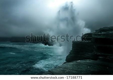 power of  the atlantic ocean - stock photo