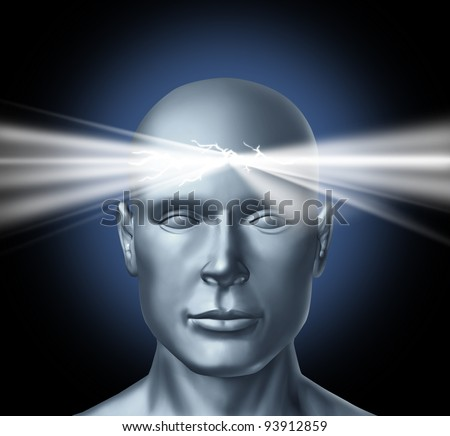 Power of the mind and the healing powers of the subconscious brain as inspiration for new ideas and human achievements success in life with a head and a glowing light shinning from the thinker. - stock photo