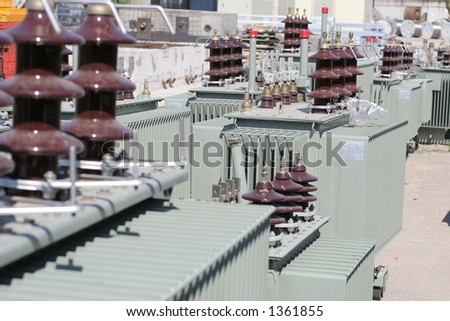 Power oil transformers - stock photo
