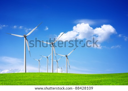 Power on blue sky - stock photo