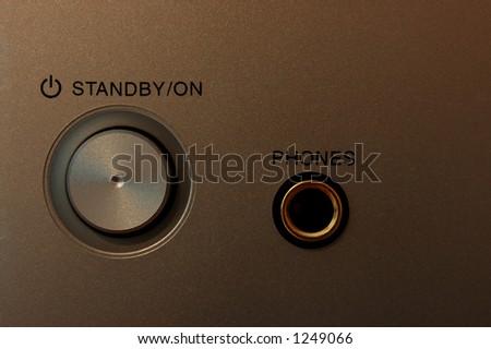 Power on button with headphone/earphone jack - stock photo