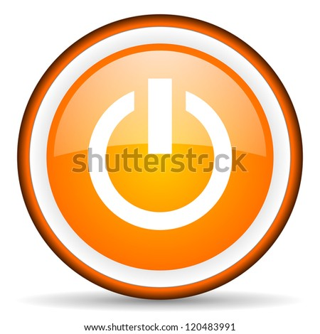 power orange glossy circle icon on white background
