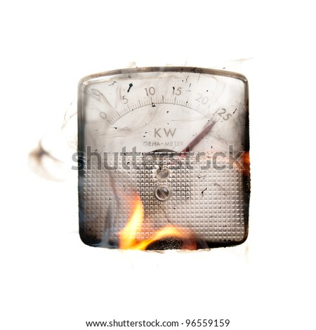 Power overload in electrical installation causing fire - stock photo