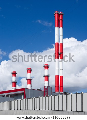 power plant against the sky - stock photo