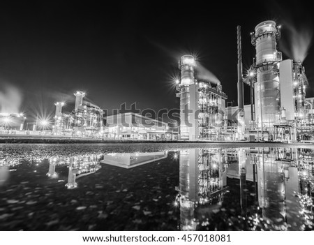 Power plant and reflect - stock photo