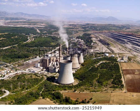 Power plant and surface mine aerial view - stock photo