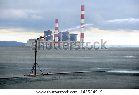 power plant ash dump - stock photo