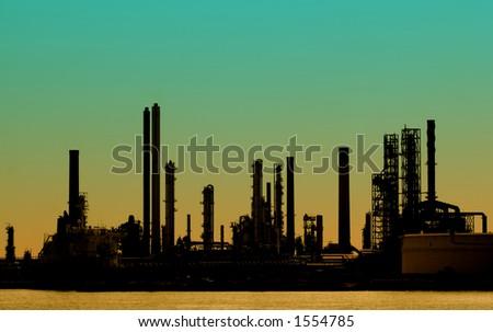 Power plant at dusk, Antwerp harbor - stock photo