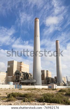 Power plant at night - stock photo
