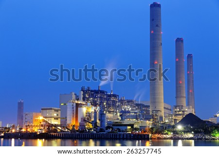 power plant at night, hong kong - stock photo