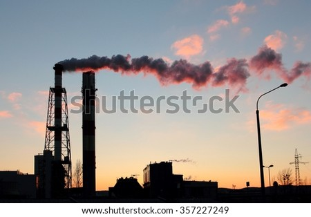 Power plant chimneys at the dusk, Gdynia, Poland