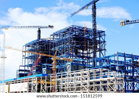 Power Plant Construction at Hongsa District in Lao PDR - stock photo