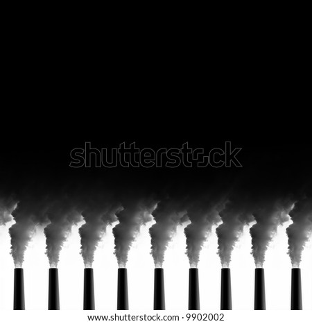 Power Plant emissions on white background - Great for Cover page of magazine or similar - stock photo