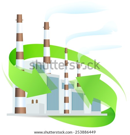 Power Plant Icon with Arrows - stock photo