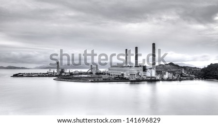 Power plant in black and white - stock photo