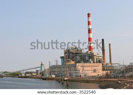 Power plant in Bridgeport, CT - stock photo