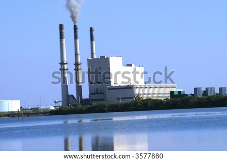 Power plant in Tampa Bay - stock photo