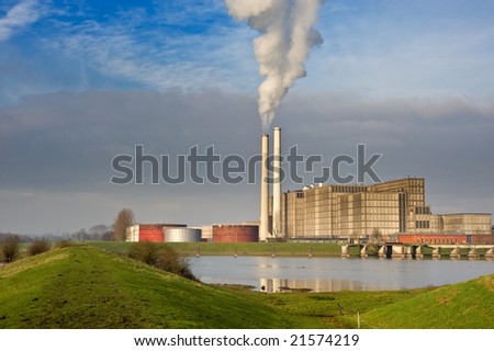 power plant in Zwolle the netherlands - stock photo