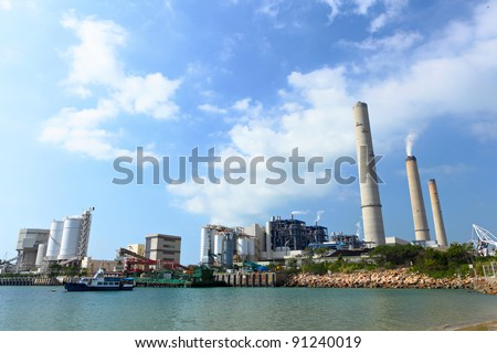 power plant near coast - stock photo