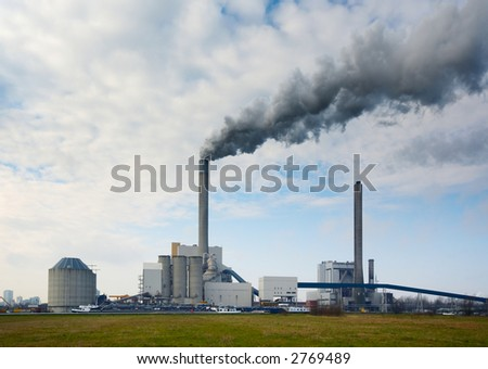 power plant, photo taken with an ultra wide angle lens - stock photo