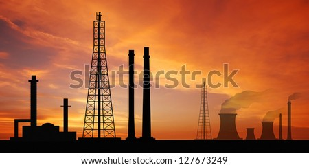 Power plant powerhouse electric industry industrial business factory background for design - stock photo