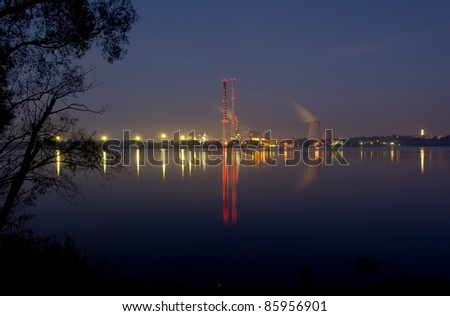 Power plant reflection by night
