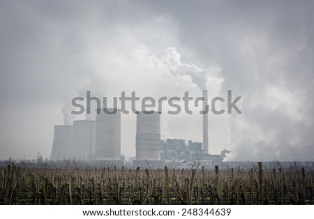Power Plant smog, winter season - stock photo