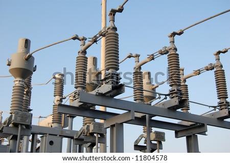 power plant switchyard - stock photo