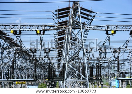 Power plant - transformation station. Multitude of cables and wires. - stock photo