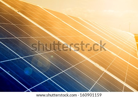 Power plant using renewable solar energy. - stock photo