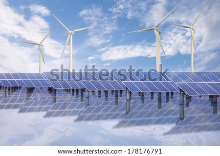 Power plant using renewable solar energy and wind