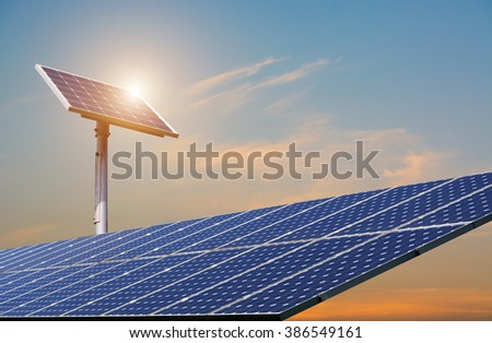 Power plant using renewable solar energy - Solar Cell - clean energy - natural energy - stock photo
