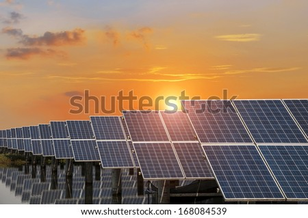 Power plant using renewable solar energy with blue sky - stock photo
