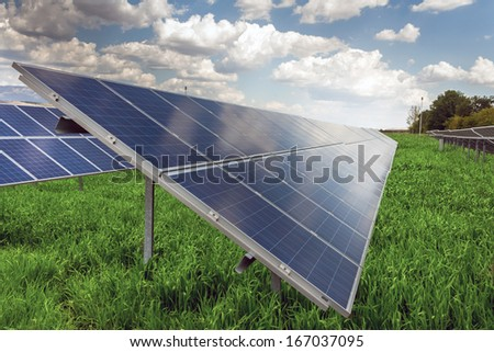 Power plant using renewable solar energy with sun  - stock photo