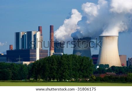 Power plant Weisweiler in North Rhein-Westfalia, Germany. - stock photo