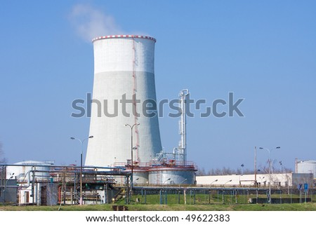 power plant with blue sky