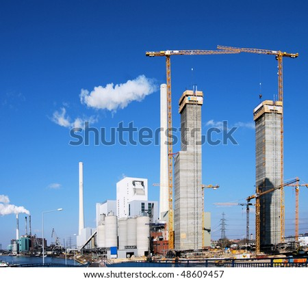 Power plants and new construction site