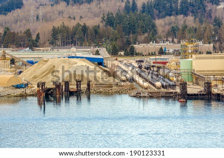Power plants and oil terminal - stock photo