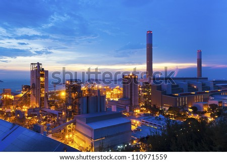 Power plants in Hong Kong along the coast - stock photo