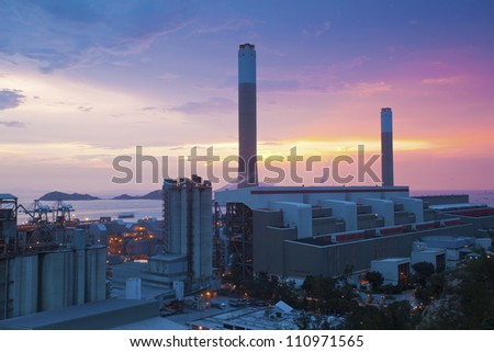 Power plants in Hong Kong at sunset