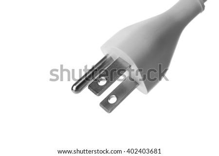 Power plug isolated on white - stock photo