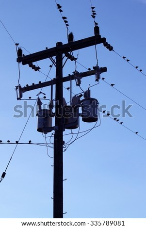 Power pole with three transformers and wires.