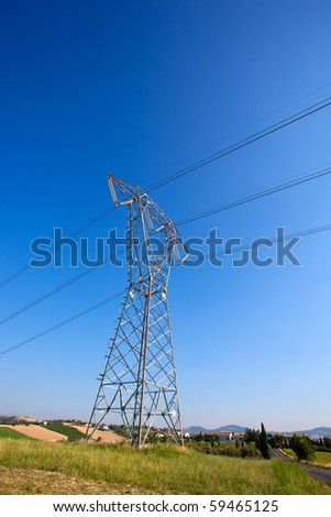 Power poles high voltage - stock photo