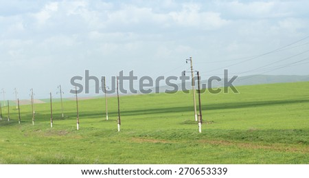 power poles in nature - stock photo