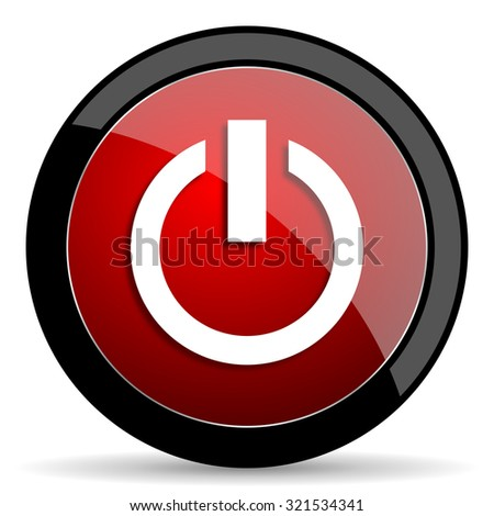 power red circle glossy web icon on white background, round button for internet and mobile app