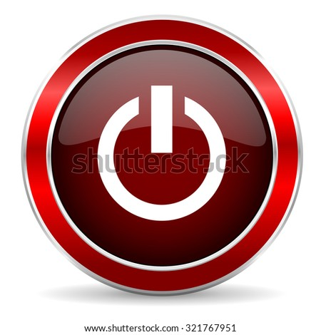 power red circle glossy web icon, round button with metallic border