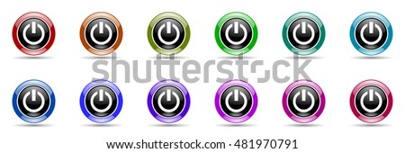 power round glossy colorful web icon set