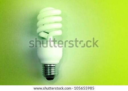 Power saving light bulb closeup - stock photo