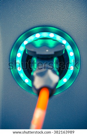 power socket of electric car charger - stock photo